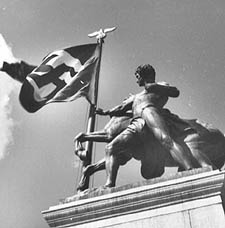 Statue and Swastika Flag